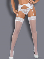 Белые чулки Etheria без силикона Obsessive Etheria stockings с доставкой