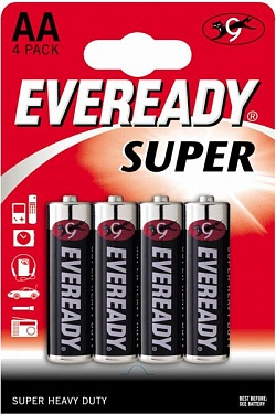 Батарейки EVEREADY SUPER R6 типа AA  - 4 шт. Energizer 637084 с доставкой